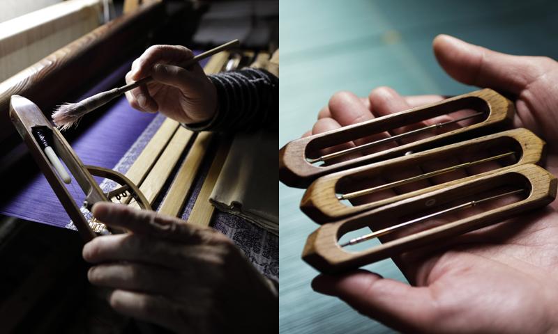 岡本織物には3人の伝統工芸士が在籍。昔ながらの手機で西陣織を織り上げている